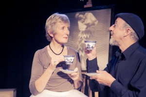 Rehearsal of the stage play Meeting Karpovsky, starring Helen Moulder and Sir Jon Trimmer.